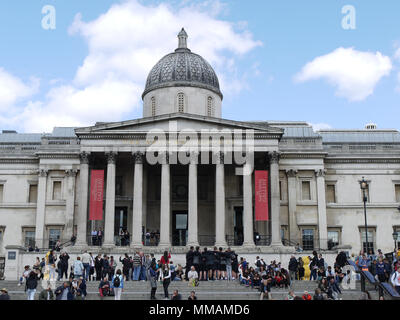 National Portrait Gallery view from Trafalgar Square - Stock Photo