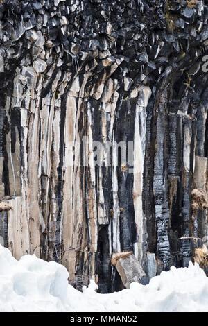 Skaftafell, Iceland. Svartifoss (Black Falls) is a waterfall in the Vatnajökull National Park. It is famous for its regular basalt rock columns