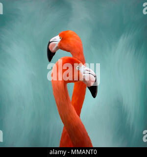 Oil painting of elegant Flamingo birds standing tall against a soft  blue and white background. - Stock Photo