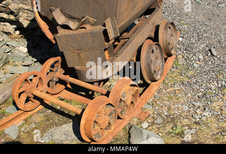 Abandoned copper mine cart, Copper Mines Valley, above Coniston Water, Lake District, England - Stock Photo