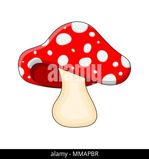 cartoon mushroom toadstool isolated on white background - Stock Photo
