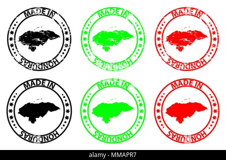 Made in Honduras - rubber stamp - vector, Honduras map pattern - black, green and red - Stock Photo