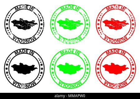 Made in Mongolia - rubber stamp - vector, Mongolia map pattern - black, green and red - Stock Photo