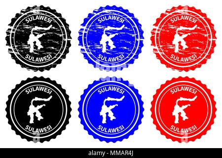 Sulawesi - rubber stamp - vector, Celebes map pattern - sticker - black, blue and red - Stock Photo