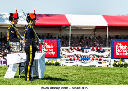 Badminton, Stroud, Gloucestershire, England, UK. 6th May 2018. Soldiers of the Kings Troop guard the trophies at the Mitsubishi Motors Badminton Horse - Stock Photo