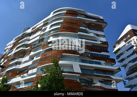 CityLife Milano Residential Complex, view looking up showing multiple balcony types, by Zaha Hadid, Milan, Italy - Stock Photo