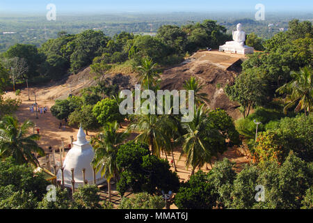 Aerial view of Buddhist temple in Mihintale (Sri Lanka) - Stock Photo