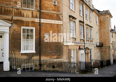 junction of brunswick place and rivers street with georgian houses in bath stone Bath England UK - Stock Photo