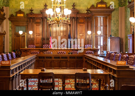 Lansing, Michigan - The old Michigan Supreme Court chamber in the Michigan state capitol building. The court met here from 1879 to 1970. The room is n - Stock Photo