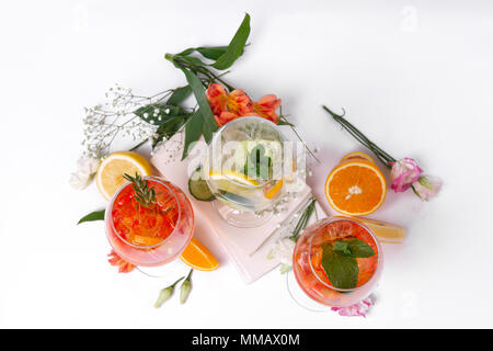 Still life photo of three wine and fruit cocktails. Set of alcohol summer drinks and cocktails. - Stock Photo