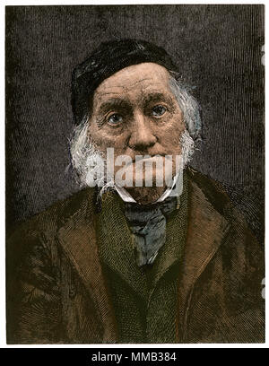 Richard Owen, English paleontologist. Hand-colored woodcut - Stock Photo