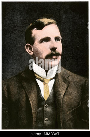 Ernest Rutherford, Nobel Prize winner in Chemistry, 1908. Hand-colored halftone of a photograph - Stock Photo