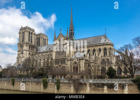 Notre Dame Cathedral from Quai de Montebello, Paris, France - Stock Photo