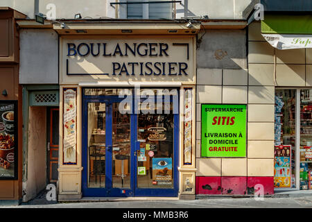Bakery shop or Boulanger Pattissier in the Place de la Contrescarpe , Paris ,France - Stock Photo