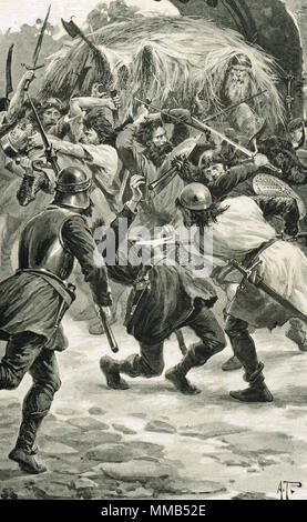 The capture of Linlithgow castle, West Lothian, Scotland in 1313. The English were defeated by a handful of Scottish Peasants hidden in a hay cart. A surprise attack by local farmer William Bunnock or Binning, during the First War of Scottish Independence.