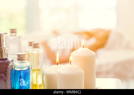 Spa candle aroma oil decoration for background with space for text - Stock Photo