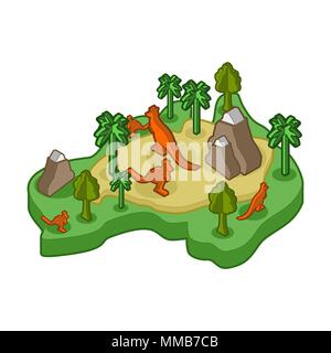 Australia map animal Isometric style. flora and fauna. Vector illustration - Stock Photo