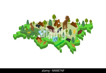 Eurasia Isometric Map Animal and plants. flora and fauna on mainland. Vector - Stock Photo