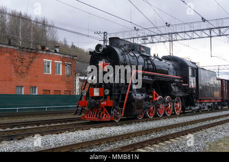 Perm, Russia - May 09, 2018: restored Soviet class L steam locomotive, participating in the historic reconstruction of the 'Victory Train' - Stock Photo