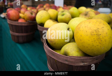 Baskets of red and yellow apples for sale at a farmer's market - Stock Photo