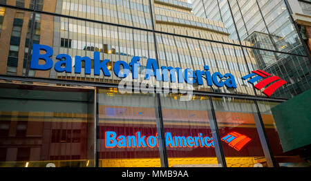 A branch of Bank of America in New York on Tuesday, May, 2018.  (© Richard B. Levine) - Stock Photo
