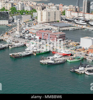 Boats in the harbor of Barcelona. - Stock Photo