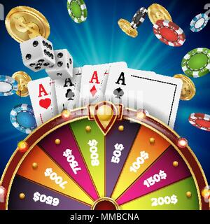 Fortune Wheel Design Vector. Realistic 3d Object. Winner Jackpot Background. Glowing Leisure Illustration - Stock Photo