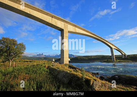 Bridge over the fjord of the whirlpools of the maelstrom of Saltstraumen, Nordland, Norway, Scandinavia - Stock Photo