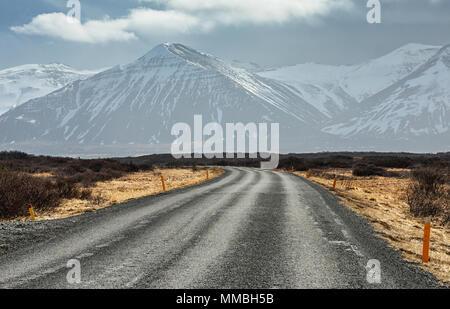 Iceland empty road and mountains background - Stock Photo