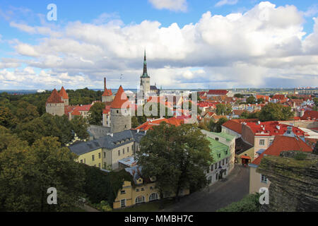 Panoramic view of the old town of Tallinn its beautiful colorful houses, Estonia - Stock Photo