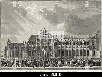 The Coronation Procession of Anne Boleyn to Westminster Abbey 1st June 1533 London England UK. 19th century Victorian engraving circa 1878 - Stock Photo