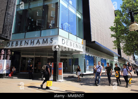 Debenhams department store on Oxford Street, in London's West End, England, UK - Stock Photo