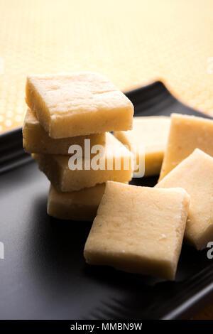 Shrikhand Vadi or Bar or cake is a popular Maharashtrian sweet food - Stock Photo
