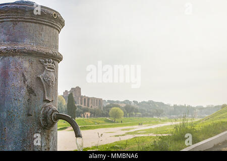 close-up view of a fountain of public drinking water nicknamed Nasone in Rome near the Circus Maximus - Stock Photo