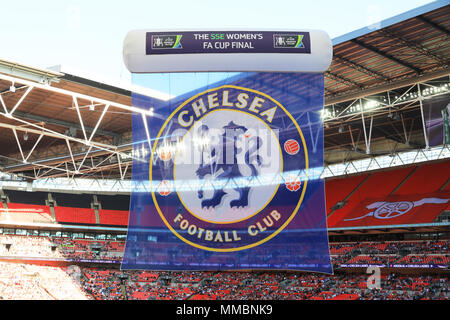 Chelsea winning the Ladies FA Cup Final 2018 at Wembley Stadium, home of the national England football team, in west London, UK - Stock Photo