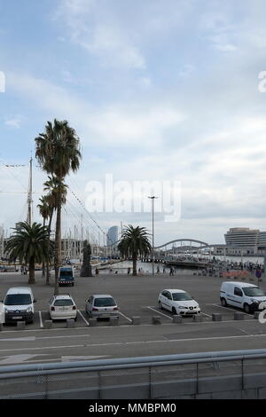 Barcelona, Spain.  The Habour of Barcelona  with the World trade Center in the background. - Stock Photo