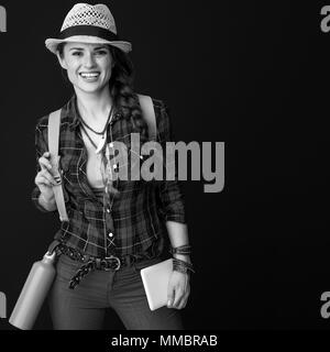 Searching for inspiring places. happy active traveller woman in a plaid shirt with tablet PC isolated on - Stock Photo