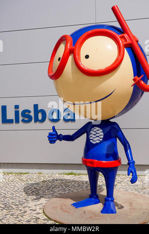 Mascot of Lisbon Oceanarium, Park of the Nations, Lisbon, Portugal - Stock Photo