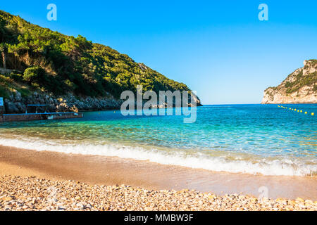 Panorma od Palaiokastritsa, town in Corfu, Greece.Beautiful bay. sandy beach in a bay at Paleokastritsa in Greece.Copy space.Sunny day - Stock Photo
