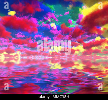 Surreal digital art. Colorful clouds reflected in the water. - Stock Photo