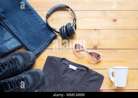 Fashionable concept, men's clothes with accessories items on wooden board background with copy space - Stock Photo