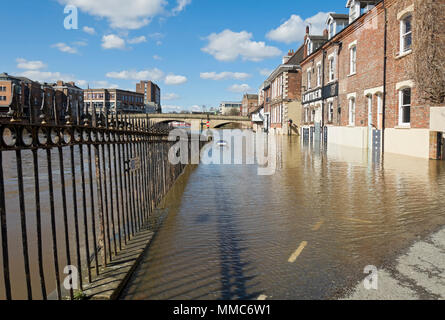 Floodwater at Kings Staith York North Yorkshire England UK United Kingdom GB Great Britain - Stock Photo