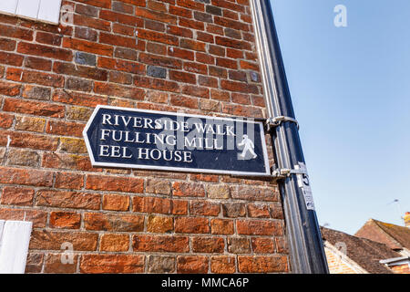 Sign pointing to the Riverside Walk, Fulling Mill and Eel House, local walks & attractions in New Alresford, a small town or village in Hampshire, UK - Stock Photo