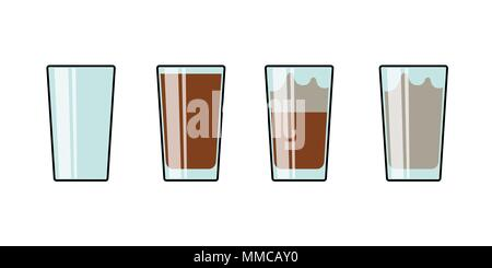 Glass set of cocoa hot chocolate milkshake coffee tea. Isolated on white vector illustration - Stock Photo