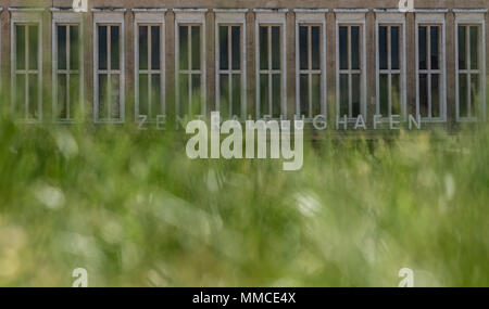 08 May 2018, Germany, Berlin: An exterior view of the main building of the airport.'Central Airport' is written on the facade. The winning project, to restructure the airport's roof into a history gallery, was introduced during a press meeting.C Photo: Paul Zinken/dpa - Stock Photo