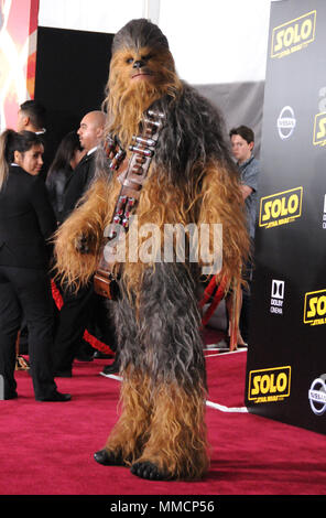Hollywood, California, USA. 10th May, 2018. Chewbacca attends the premiere of Disney Pictures and Lucasfilms' 'Solo: A Star Wars Story' at the Dolby Theatre, El Capitan Theatre and Grauman's Chinese Theatre on May 10, 2018 in Hollywood, California. Photo by Barry King/Alamy Live News - Stock Photo