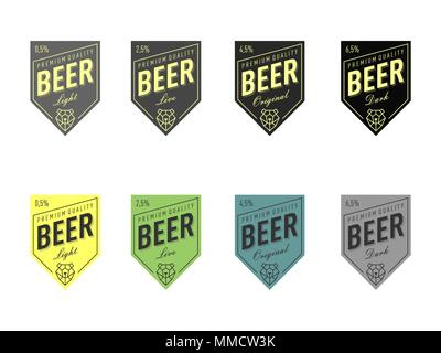 Beer Label Design with bear head polygonal line style. Different color set. Dark, light, original, live - Stock Photo