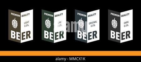 Beer label design with hop. Original, light, live, dark. Vector EPS set - Stock Photo