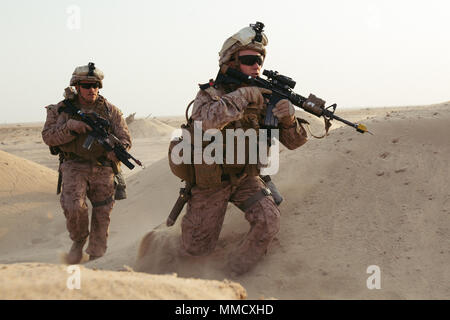 U.S. Marine Cpl. Matthew Lecompte and Lance Cpl. Dulton James with 2nd Battalion, 7th Marine Regiment run toward simulated casualties while training in the Middle East, Oct. 10, 2017. They are members of a quick reaction force that is capable of responding to developing situations on short notice. Marines with 2/7 were tasked to conduct a QRF to quickly recover simulated casualties and take them back to safety. This was the first exercise 2/7 has conducted after replacing 1st Battalion, 7th Marine Regiment in the U.S. Central Command area of operations.