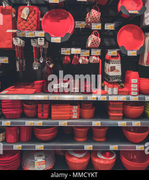 Rimini, Italy, March 21, 2018 more red kitchen tools are on sell to shopping center - Stock Photo